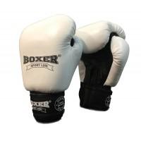 Перчатки боксерские кожаные Boxer 10 унций (bx-0028) Белые