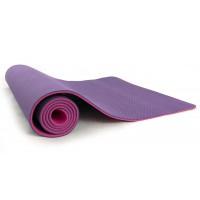 Коврик (йога мат) для фитнеса и йоги FitUp TPE+TC 6мм (FI-0112) фиолетово-розовый