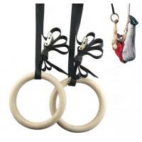 Кольца гимнастические для кроссфита/гимнастики и шведской стенки с регулировкой деревянные OSPORT (OF-0006)
