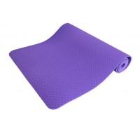 Коврик для йоги и фитнеса (йога мат) однослойный OSPORT TPE 182х61см толщина 8мм (MS 0616) фиолетовый