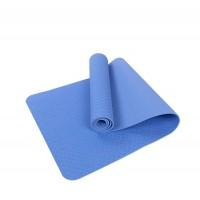 Коврик для йоги и фитнеса одноцветный TPE+TC 183х61х0.6см OSPORT (MS 0615) голубой