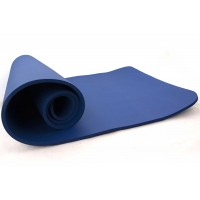 Коврик-Мат для йоги и фитнеса из вспененного каучука OSPORT Premium NBR 183х61см толщина 1см (FI-0075) Синий