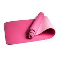 Коврик для йоги и фитнеса TPE (йога мат, каремат спортивный) OSPORT Yoga ECO Pro 6мм (FI-0076) Розовый-светлорозовый