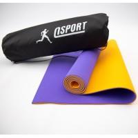 Коврик для йоги и фитнеса + чехол (мат, каремат спортивный) OSPORT Yoga ECO Pro 6мм (n-0007) Фиолетово-оранжевый