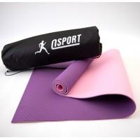 Коврик для йоги и фитнеса + чехол (мат, каремат спортивный) OSPORT Yoga ECO Pro 6мм (n-0007) Фиолетово-розовый