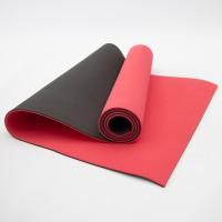Коврик для йоги и фитнеса TPE (йога мат, каремат спортивный) OSPORT Yoga ECO Pro 6мм (FI-0076) Красно-черный