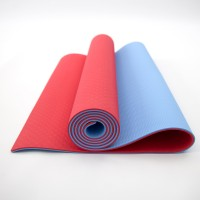 Коврик для йоги и фитнеса TPE (йога мат, каремат спортивный) OSPORT Yoga ECO Pro 6мм (FI-0076) Красно-голубой