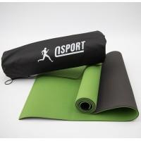 Коврик для йоги и фитнеса + чехол (мат, каремат спортивный) OSPORT Yoga ECO Pro 6мм (n-0007) Оливково-Чёрный