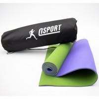 Коврик для йоги и фитнеса + чехол (мат, каремат спортивный) OSPORT Yoga ECO Pro 6мм (n-0007) Оливково-фиолетовый