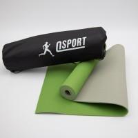 Коврик для йоги и фитнеса + чехол (мат, каремат спортивный) OSPORT Yoga ECO Pro 6мм (n-0007) Оливково-Серый