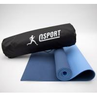 Коврик для йоги и фитнеса + чехол (мат, каремат спортивный) OSPORT Yoga ECO Pro 6мм (n-0007) Сине-голубой