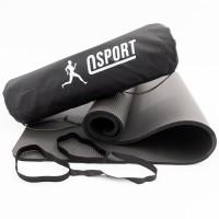 Коврик для йоги и фитнеса NBR + чехол (йога мат, каремат спортивный) OSPORT Mat Pro 1см (n-0011) Черный