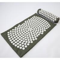 Массажный коврик и валик 2в1 (аппликатор Кузнецова) массажер для ног/спины/шеи/тела FitUp (F-00002) Хаки-белый