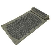 Массажный коврик и валик 2в1 (аппликатор Кузнецова) массажер для ног/спины/шеи/тела FitUp (F-00002) Хаки-черный