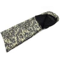 Спальный мешок (спальник) одеяло с капюшоном и флисом Осень-Весна OSPORT Tourist Medium Камуфляж Пиксель (ty-0013)