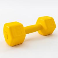 Гантели для фитнеса пластиковые цельные (неразборные) OSPORT Lite 2 кг (OF-0115) Желтый