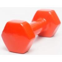 Гантели для фитнеса виниловая цельные (неразборные) OSPORT Profi 1,5 кг (FI-0105-4) Красный