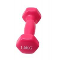 Гантели для фитнеса виниловая цельные (неразборные) OSPORT Profi 1кг (FI-0105-2) Розовый