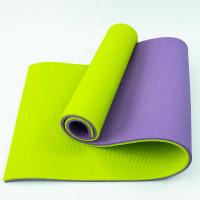 Коврик для йоги, фитнеса и спорта (каремат спортивный) OSPORT Спорт 16мм (FI-0038-1) Фиолетово-салатовый