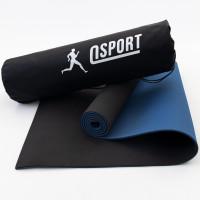 Коврик для йоги и фитнеса + чехол (мат, каремат спортивный) OSPORT Yoga ECO Pro 6мм (n-0007) Черно-синий