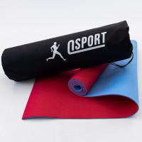 Коврик для йоги и фитнеса + чехол (мат, каремат спортивный) OSPORT Yoga ECO Pro 6мм (n-0007) Красно-голубой