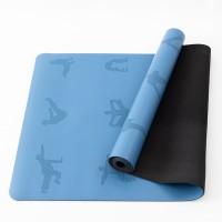 Коврик для йоги и фитнеса (йога мат) резиновый профессиональный OSPORT 5мм (MS 2898) Сине-черный