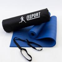 Коврик для йоги и фитнеса NBR + чехол (йога мат, каремат спортивный) OSPORT Mat Pro 1см (n-0011) Синий