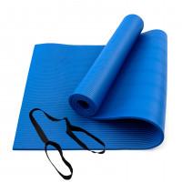 Коврик для йоги и фитнеса NBR (йога мат, каремат спортивный) OSPORT Mat Pro 1см (FI-0075) Синий