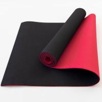 Коврик для йоги и фитнеса TPE (йога мат, каремат спортивный) OSPORT Yoga ECO Pro 6мм (FI-0076) Черно-красный