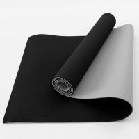 Коврик для йоги и фитнеса TPE (йога мат, каремат спортивный) OSPORT Yoga ECO Pro 6мм (FI-0076) Черно-серый